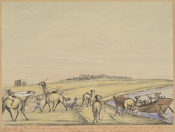 Embarking baggage camels on the Indus at the ferry opposite the camp at Hyderabad (Sind).  December 1851